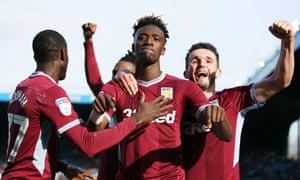 Tammy Abraham celebrates scoring Aston Villa's third goal against Sheffield Wednesday.