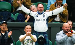Braveheart: Murray fans spur on their hero on court.