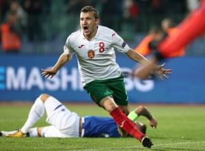 Bulgaria's Todor Nedelev celebrates scoring their second goal .