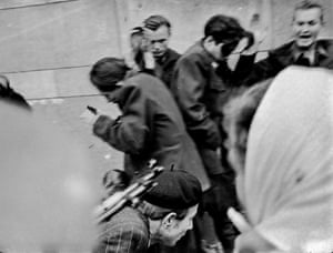 The second of series of shots showing an execution at close range. All those pictured were killed, except the man in the upper right corner, who was protesting his innocence