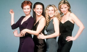 SJP, third from left, as Carrie Bradshaw in Sex and the City.