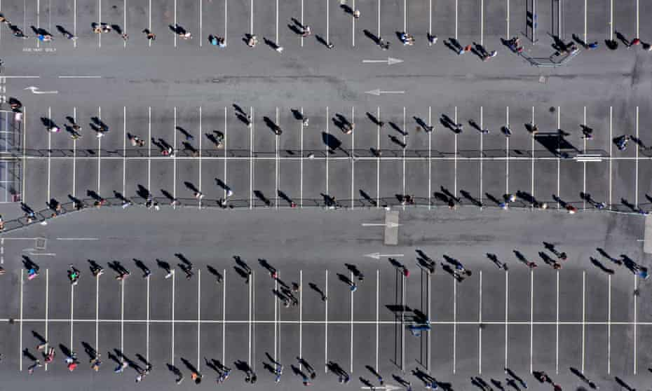 Customers socially distance as they enter Ikea Warrington on 1 June 2020.