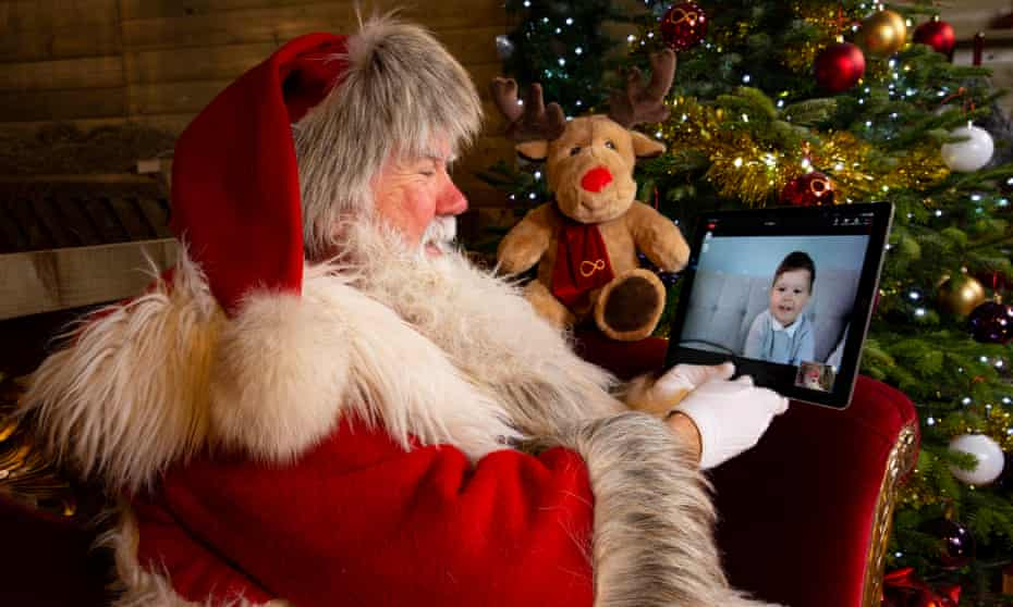Santa Claus speaks to two-year-old Leo via live video stream to launch the Virgin Media virtual grotto experience.