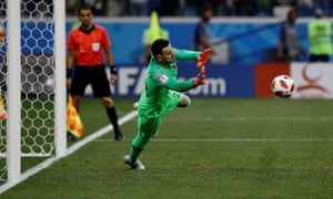 Croatia's Danijel Subasic pulls off a penalty save during their shootout win over Denmark.
