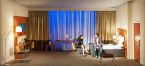 The hotel room … Wild at Hampstead theatre in 2016, with actors Caoilfhionn Dunne and Jack Farthing.