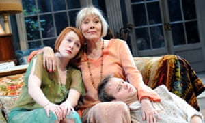 Laura Rogers as Sorel Bliss, Diana Rigg as Judith Bliss and Sam Alexander as Simon Bliss in Noël Coward's farce Hay Fever at the Chichester Festival Theatre in 2009