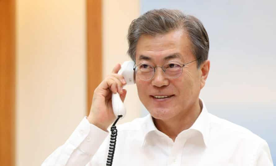President Moon Jae-in talks with Donald Trump by telephone from Seoul, South Korea, on Thursday. Trump promised to send a high-level delegation to the Winter Olympics in Pyeongchang.