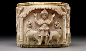 Story box … Ivory pyxis box depicting Daniel with arms raised in prayer flanked by two lions