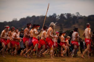 Tightly packed dancers stomp together around the ceremonial circle on the Earth where Yuin creation began. Yuin Nation covers the south-east corner of New South Wales, flowing from the Shoalhaven river in the north, through Nowra and along the coastline into lake of Mallacoota on the Victorian border