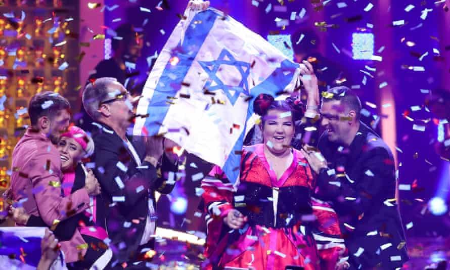 Singer Netta Barzilai, representing Israel, wins the 2018 Eurovision song contest, Lisbon, 13 May 2018.