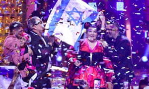 Singer Netta, representing Israel, wins last year's Eurovision Song Contest in Lisbon.