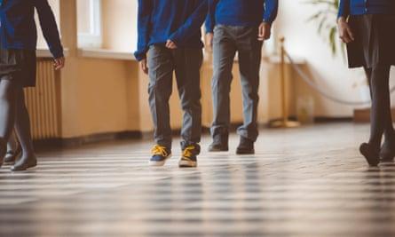 School pupils in a corridor