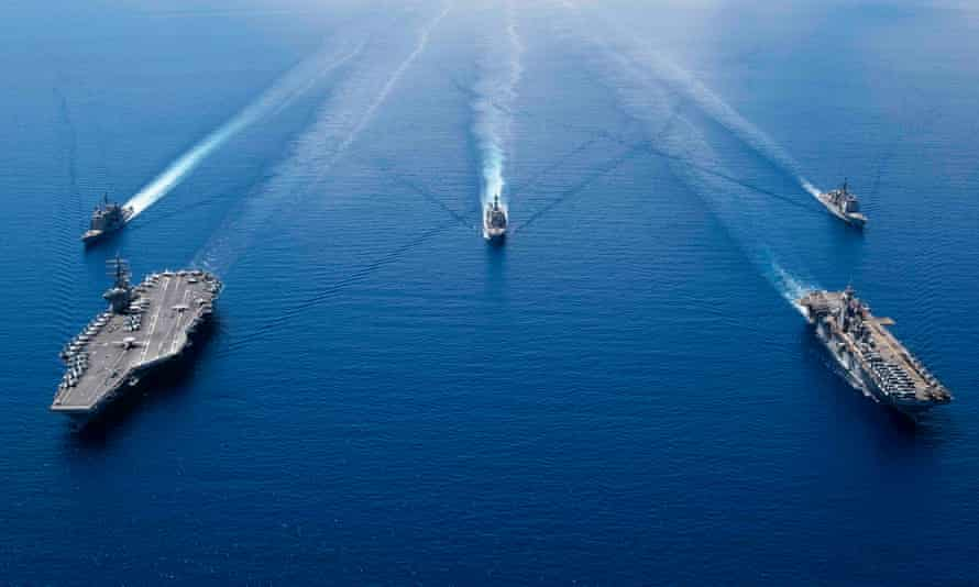 US navy ship in formation in the South China Sea last October.