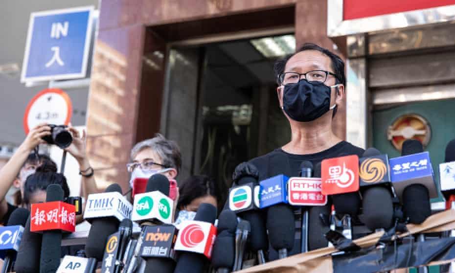Former committee member Richard Tsoi Yiu-Cheong announces the disbanding of the Hong Kong Alliance on Saturday.