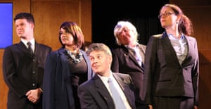 Like a newspaper cartoon come to life... the cast of Corbyn the Musical.