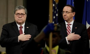 The deputy attorney general, Rod Rosenstein, right, has said that Barr's memo had 'no impact' on the special counsel's investigation.