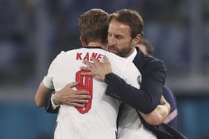 England's manager Gareth Southgate, right, greets his player Harry Kane after he was substituted.