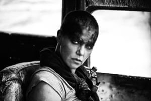 Charlize Theron in the 'Black & Chrome edition' of Mad Max: Fury Road