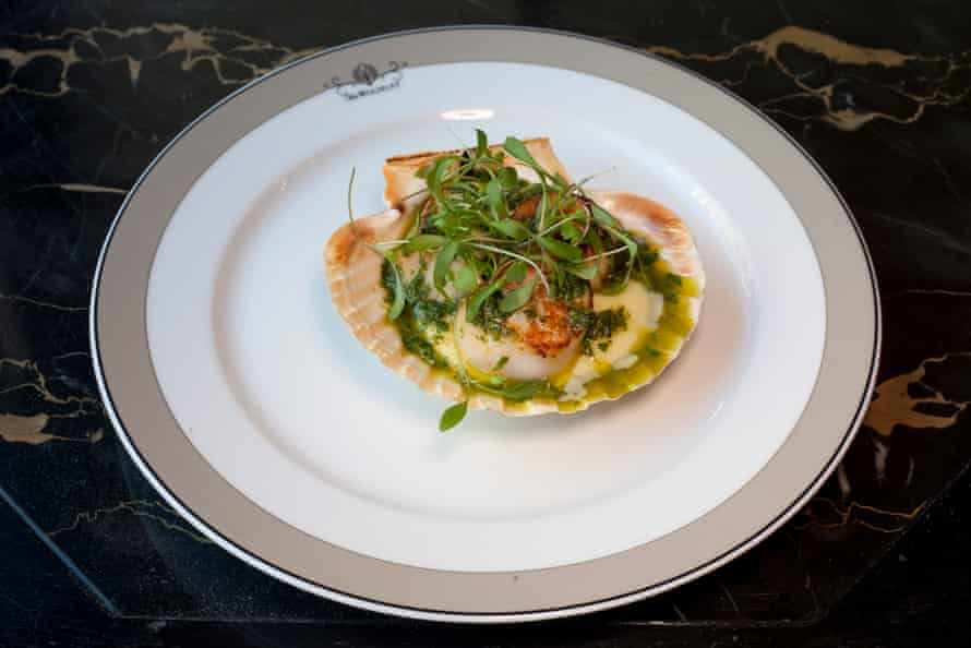 Seared scallops on the shell, in a buttery potato mousseline and dressed with baby herbs
