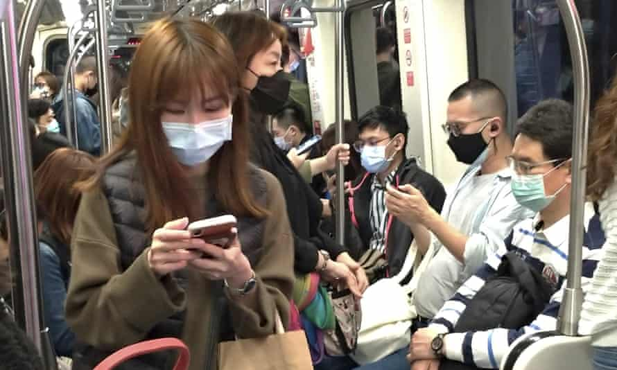Passengers on the Taipei Metro yesterday.