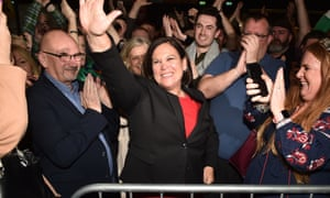 Sinn Féin leader Mary Lou McDonald celebrates with her supporters after being elected at the RDS Count centre in Dublin, Ireland.