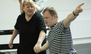 Heather Williams and Nathan Bessell in rehearsals for Up Down Man at the Salisbury Playhouse.