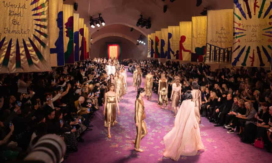 Inside the mighty womb … Judy Chicago's three-foot high banners formed a spectacular backdrop to Dior's spring-summer couture show in Paris.