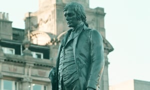 the Robert Burns statue in George Square, Glasgow.