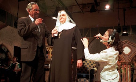 Mother Angelica being prepared for a live broadcast from the Eternal Word Television Network in 1999.