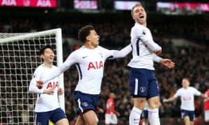 Christian Eriksen celebrates scoring Tottenham's goal after 11 seconds against Manchester United at Wembley.