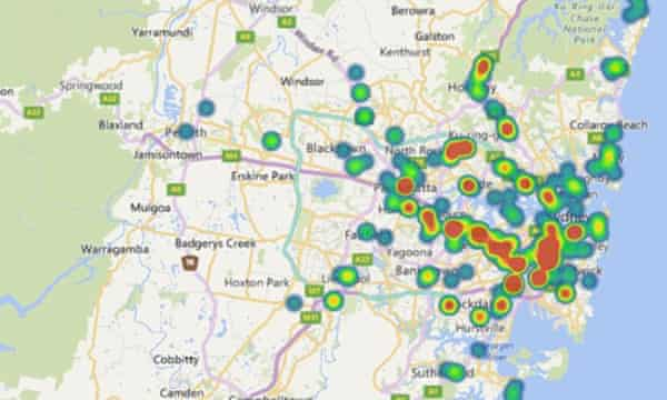 A heatmap of cranes in Sydney in the fourth quarter of 2017