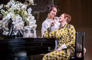 Brenda Rae, left, in the title role, with Sarah Connolly as Countess Geschwitz in Lulu at the Coliseum.