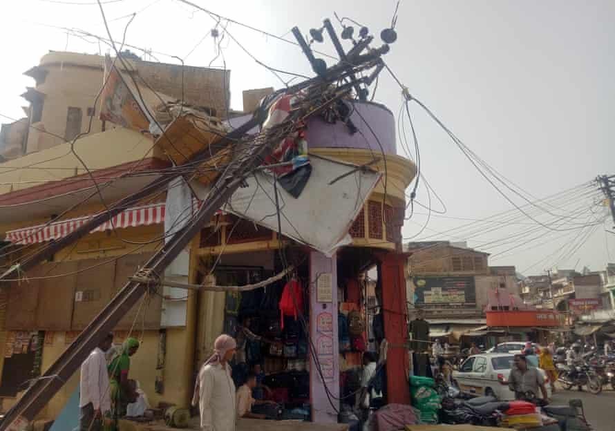 A damaged electric pole after a dust storm in Alwar, in Rajasthan, India.