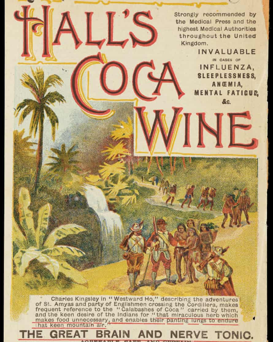 Advert for Hall's Coca wine: romanticised coloured drawing of conquistadors in South America. Text explains that the wine is 'the great brain and nerve tonic' and is 'invaluable for influenza, sleeplessness, anaemia, mental fatigue, etc.'