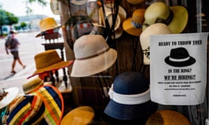 A hat store advertises that they are hiring in Annapolis, Maryland.