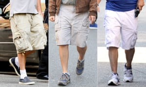 Composite of men wearing cargo shorts