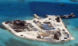 A handout picture made available by the Armed Forces of the Philippines (AFP) Public Affairs Office on 20 April 2015 shows construction at Mabini (Johnson) Reef in the disputed Spratley Islands in the south China Sea by China.