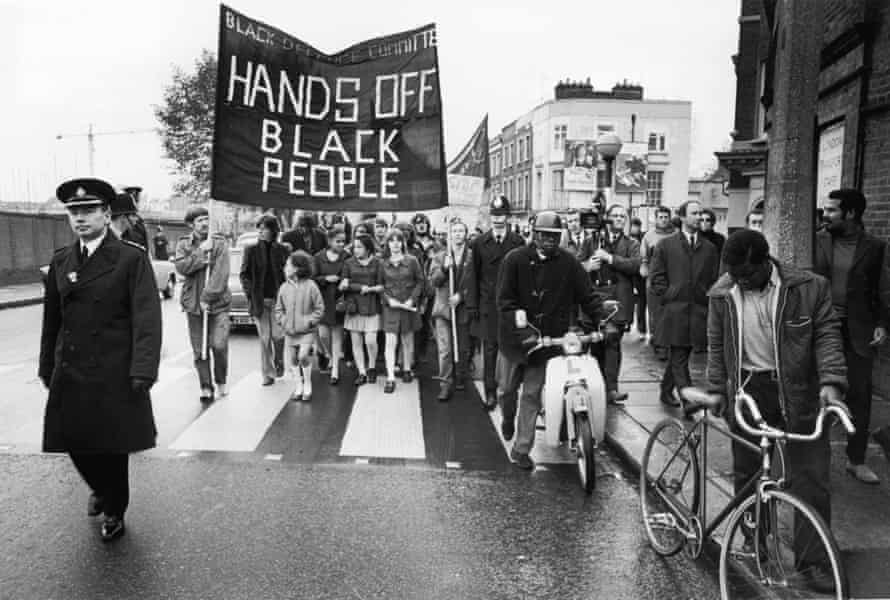 A demonstration in Notting Hill protesting against the repression of black citizens, organised by the Black Defence Committee, October 1970.