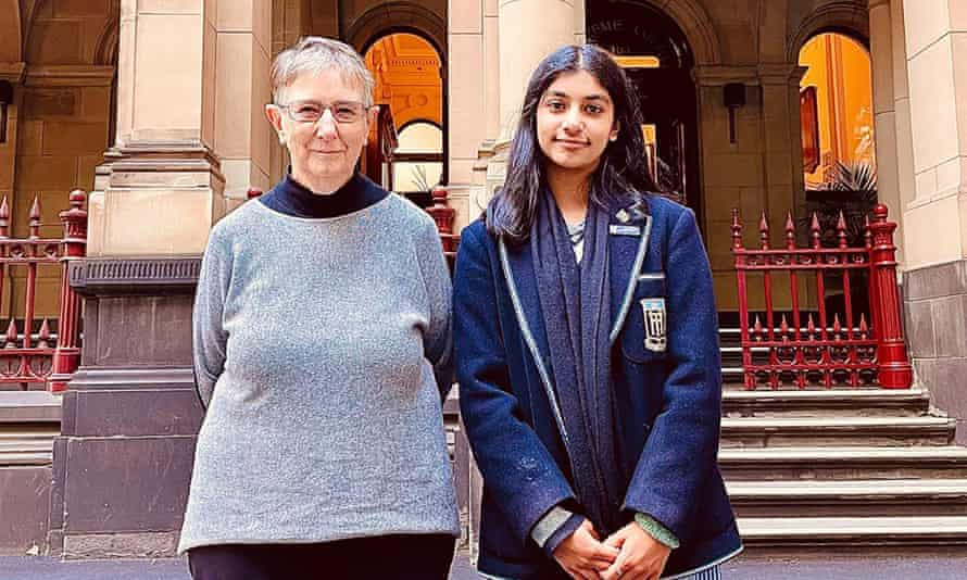 Sister Brigid Arthur, 86, and Anj Sharma, 16.