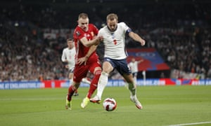England v Hungary - 2022 FIFA World Cup qualifier Description Harry Kane of England battles for possession with Attila Szalai of Hungary during the 2022 FIFA World Cup qualifier between England and Hungary at Wembley Stadium on October 12th 2021 in London, England (Photo by Tom Jenkins)
