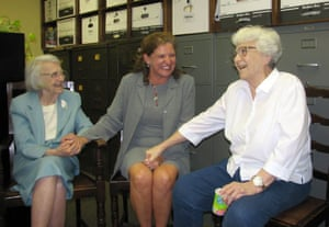 Alice Lee (left) was Harper's sister and an Alambama lawyer, seen here with left, with Monroe County Circuit Judge-elect Dawn Hare, center, and her sister, (right) in Monroeville in 2006.