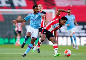 Manchester City's Raheem Sterling vies for the ball against Southampton's Kyle Walker-Peters.