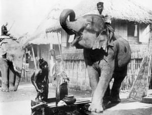 A Burmese girl is startled by an elephant at a well, circa 1910s.