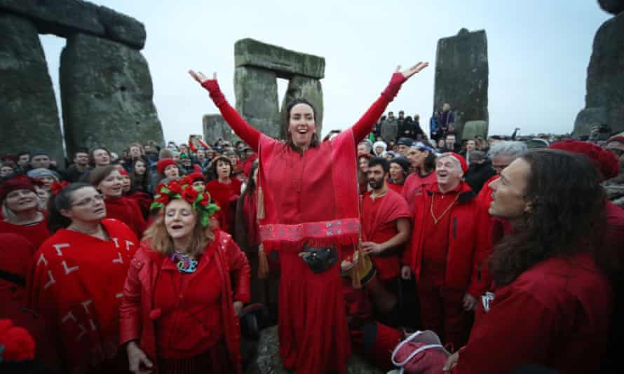 People gather at Stonehenge in Wiltshire