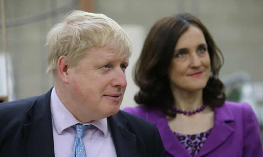 Boris Johnson and Northern Ireland secretary Theresa Villiers in Lisburn