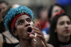 A student shouts slogans in Rio de Janeiro, Brazil.