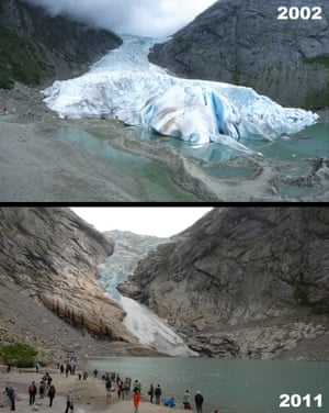 Norway's shrinking Briksdal glacier in 2002 and 2011