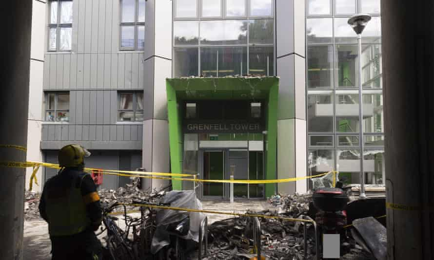 Low-level floors at Grenfell Tower after the blaze. Glass reinforced concrete panels used at the tower base were classed as non-combustible.