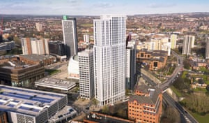 'A depot of discarded fridges' … Altus House, with the curve of the Leeds Arena below, and Sky Plaza to the rear.