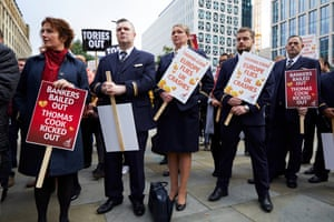 Former Thomas Cook staff protest in Manchester
